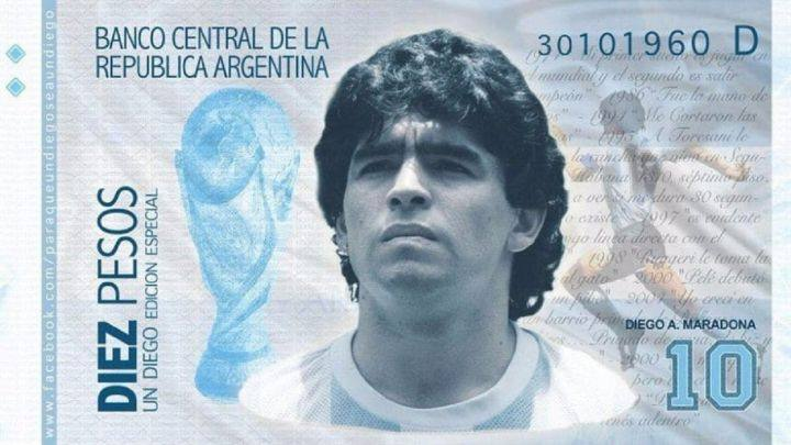 Gobierno argentino propone imprimir billetes con la imagen de Diego Armando Maradona